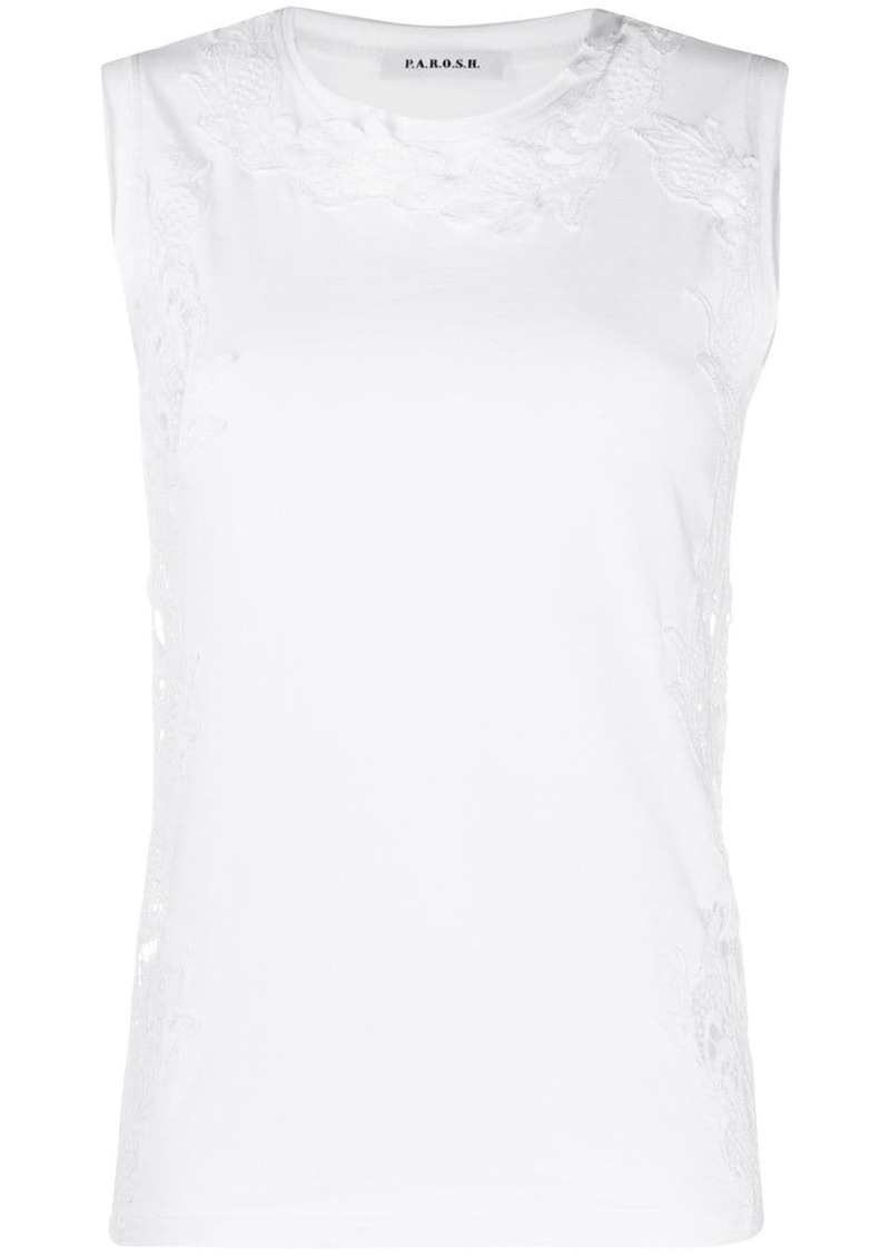 P.A.R.O.S.H. lace embroidery tank top