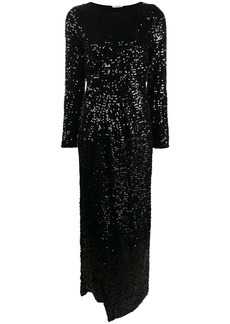 P.A.R.O.S.H. long-sleeve sequinned evening dress