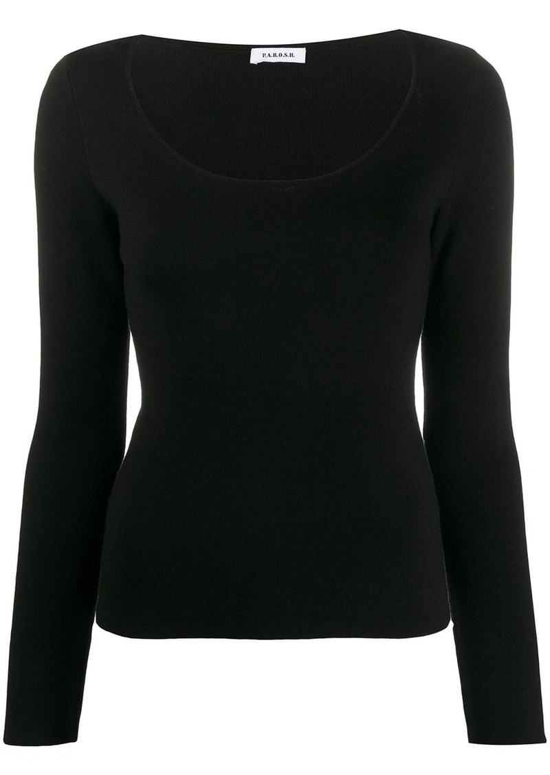 P.A.R.O.S.H. Lyric scoop neck knitted top