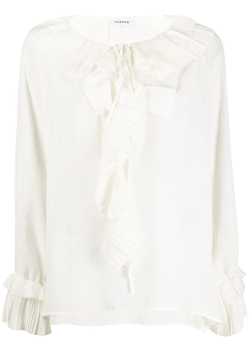 P.A.R.O.S.H. pleated ruffle blouse
