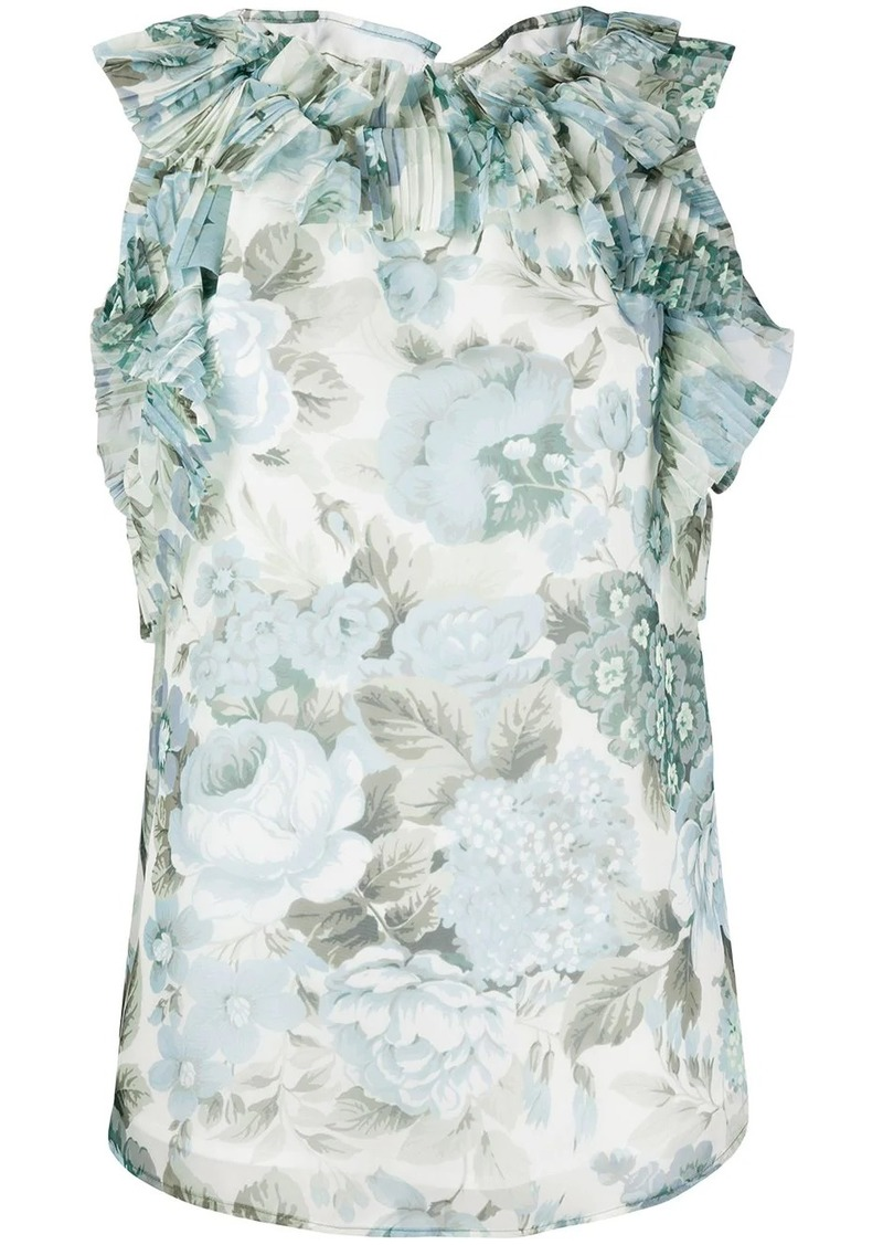 P.A.R.O.S.H. ruffled floral-print blouse
