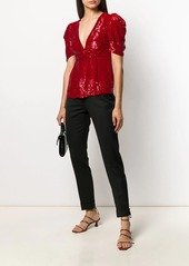 P.A.R.O.S.H. sequinned V-neck blouse