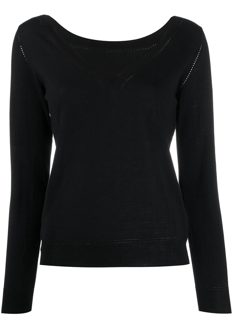 P.A.R.O.S.H. V-neck perforated knit top