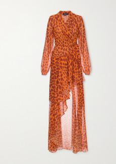 PatBO Margot Ruffled Printed Chiffon Wrap Maxi Dress