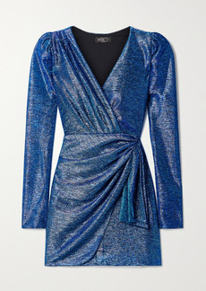 PatBO Wrap-effect Draped Metallic Lamé Mini Dress