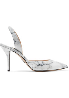 Paul Andrew Woman Passion Marble-effect Patent-leather Pumps White
