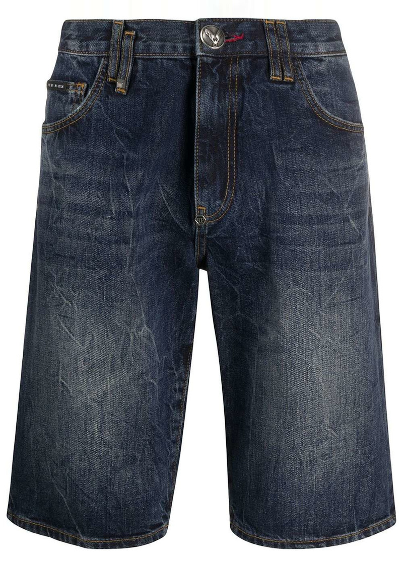 Philipp Plein Bermuda faded jean shorts