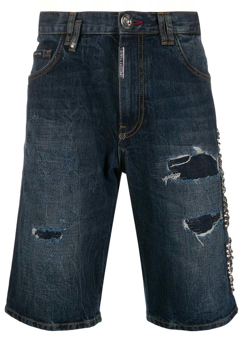 Philipp Plein Bermuda Plein Star denim shorts
