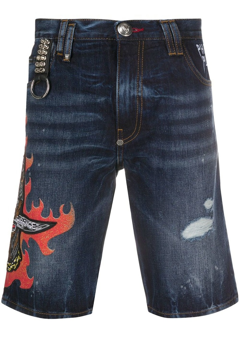 Philipp Plein denim bermuda shorts