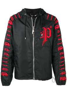 Philipp Plein Don't Leave logo embroidered hooded jacket