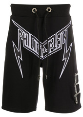 Philipp Plein embroidered thunder logo track shorts