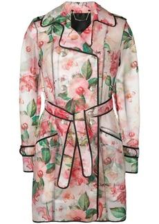 Philipp Plein floral trench coat