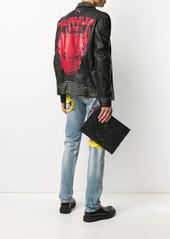 Philipp Plein geometric sheepskin clutch bag