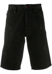 Philipp Plein hexagon logo denim shorts