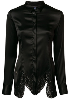 Philipp Plein lace hem satin shirt