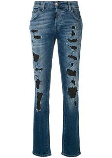 Philipp Plein layered cut slim jeans