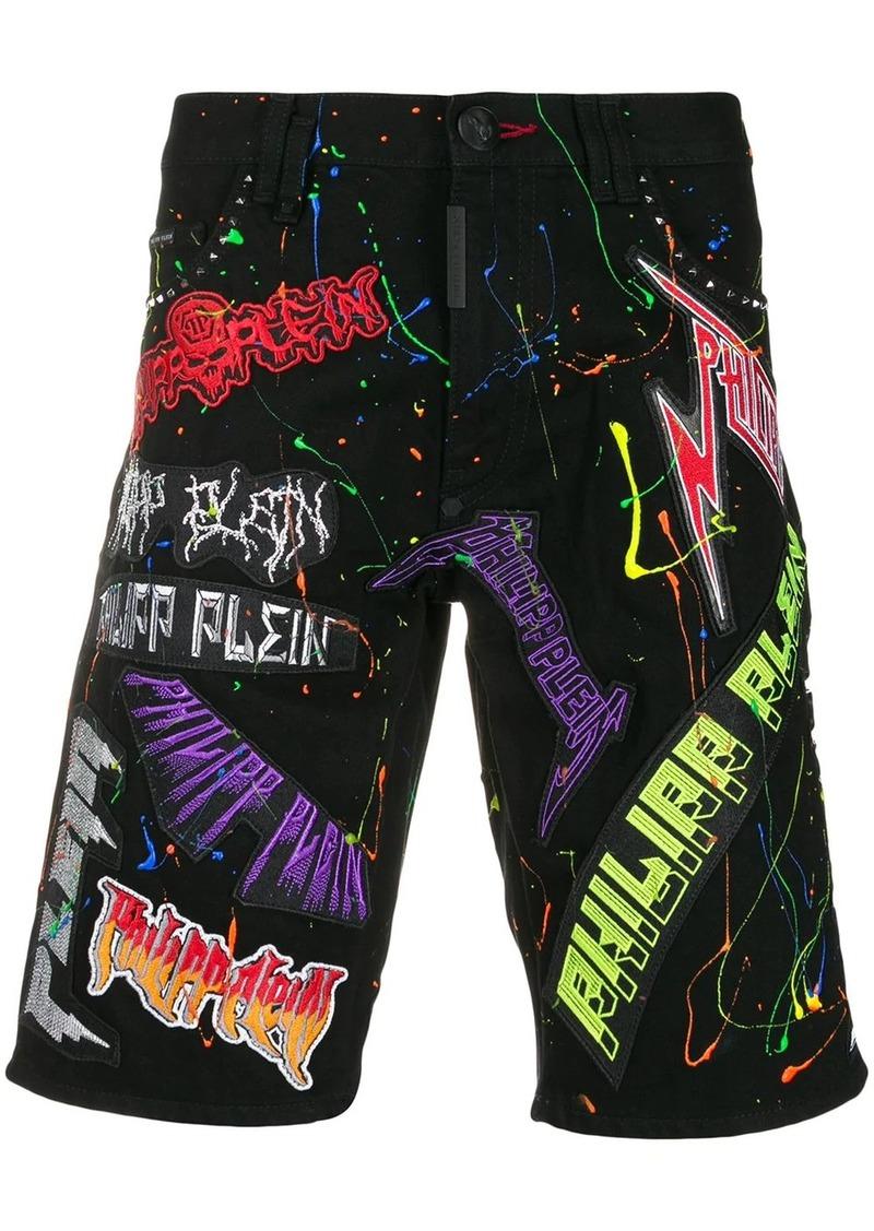 Philipp Plein logo patchwork shorts