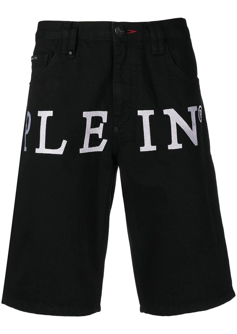 Philipp Plein logo print denim shorts