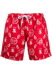 Philipp Plein monogram logo swim shorts