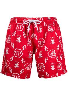 Philipp Plein monogram logo swim shorts