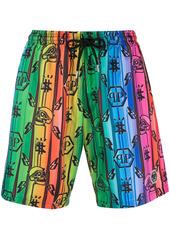 Philipp Plein monogram rainbow swimshorts