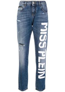 Philipp Plein painted slogan jeans