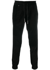 Philipp Plein ribbed-detail velour track pants