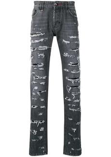 Philipp Plein ripped straight-leg jeans