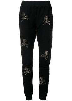 Philipp Plein skull and crossbones embellished track pants