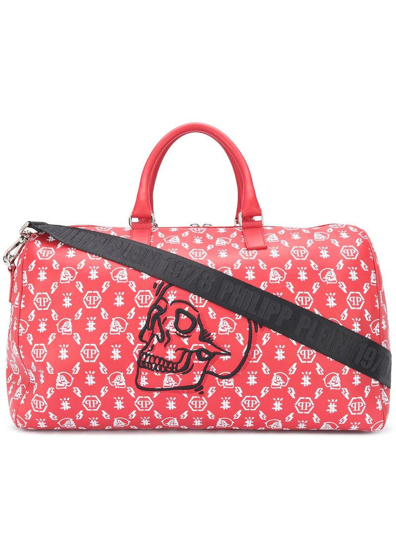 Philipp Plein skull-embroidered leather holdall bag