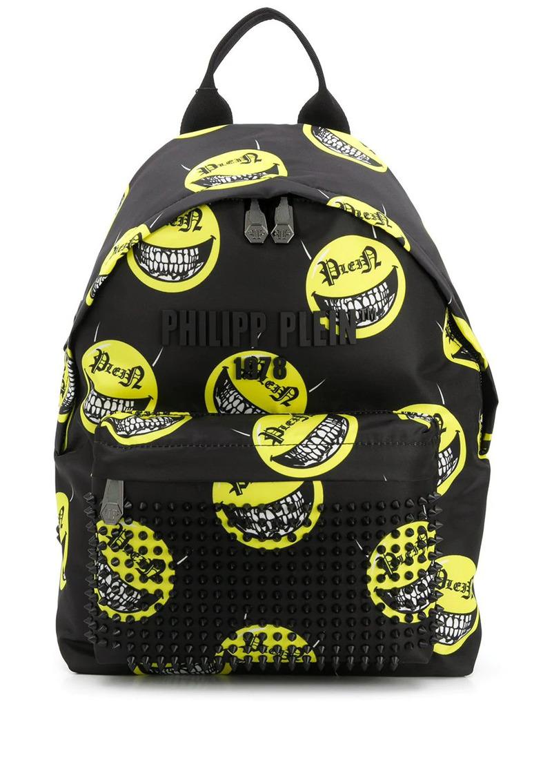 Philipp Plein smile print studded backpack