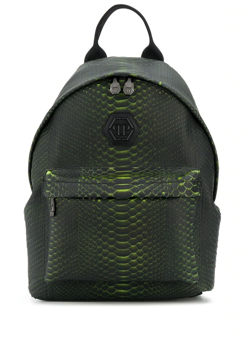 Philipp Plein snakeskin print backpack