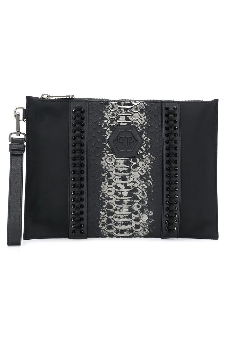 Philipp Plein studded leather clutch bag