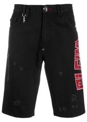 Philipp Plein studded logo distressed detail shorts