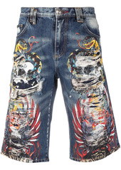 Philipp Plein tattoo-print distressed shorts