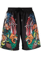 Philipp Plein tattoo-print swim shorts