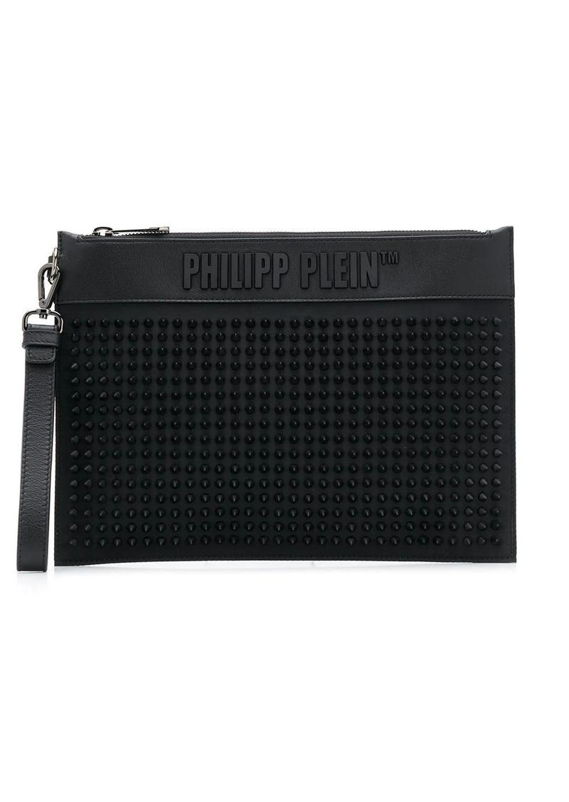 Philipp Plein textured logo clutch bag