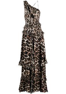 Philipp Plein tiered leopard-print gown