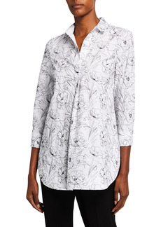 Piazza Sempione Eugenia Floral Embroidered Tunic Shirt
