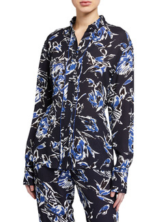 Piazza Sempione Stencil Floral-Print Tunic Shirt