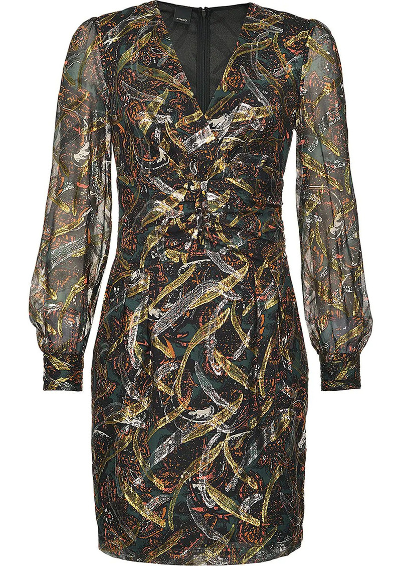 Pinko abstract patterned sheer sleeve dress
