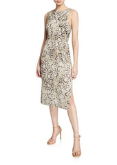 Pinko Ancilla Sleeveless Snake-Print Sheath Dress