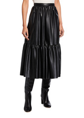 Pinko Asterismo Full Faux-Leather Flounce Skirt