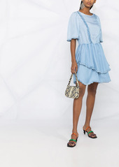 Pinko asymmetric ruffle-detailed short dress
