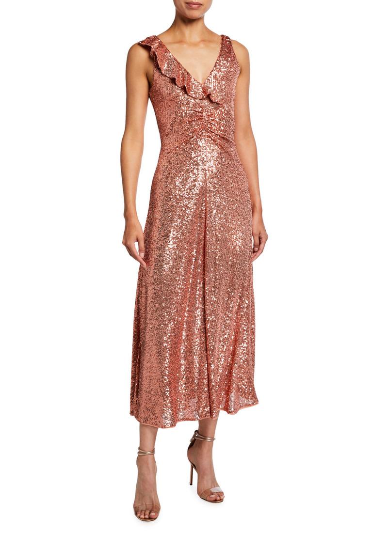 Pinko Australe Sequined Sleeveless Midi Dress