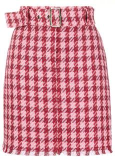 Pinko belted check-print mini skirt