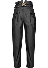 Pinko belted faux-leather trousers