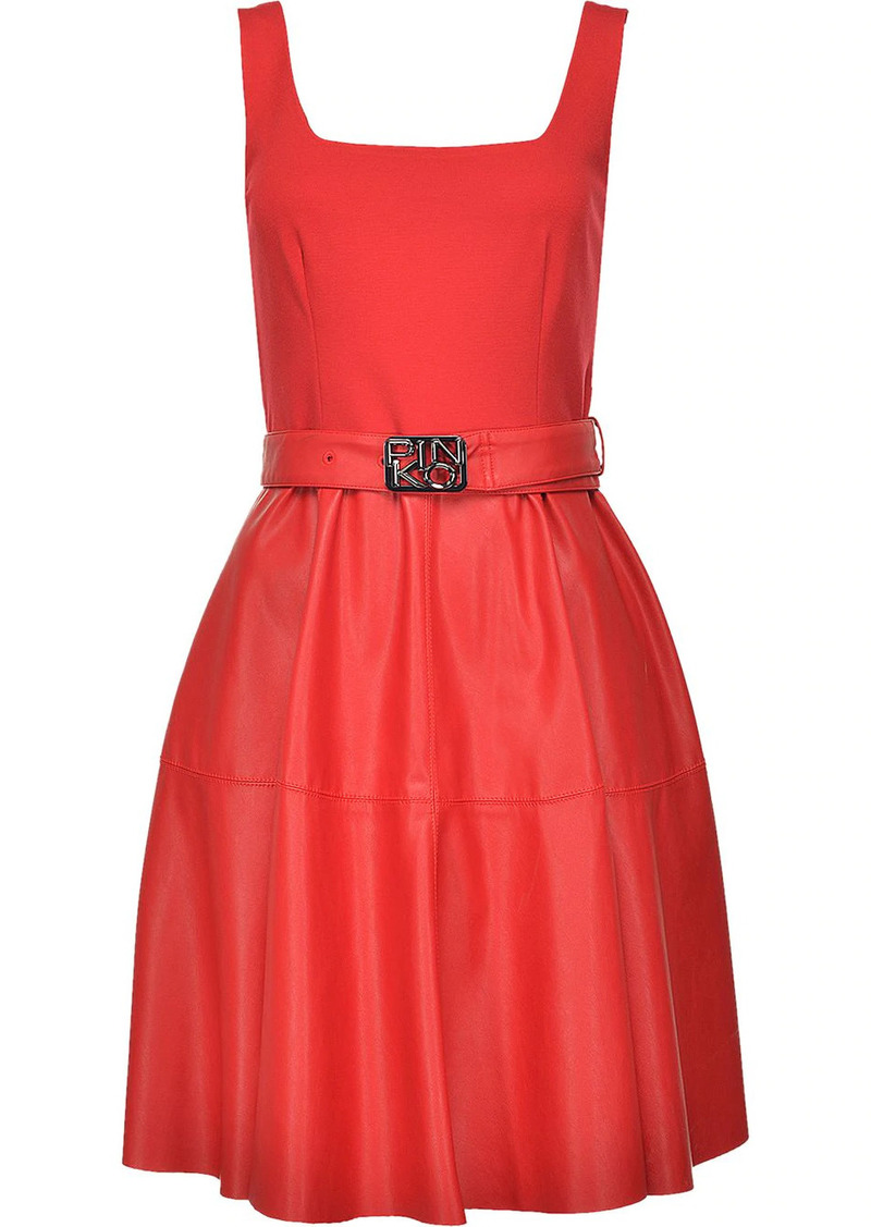 Pinko belted flared dress
