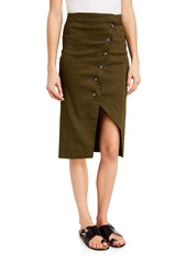 Pinko Button-Front Linen Pencil Skirt