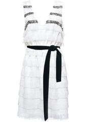 Pinko chain embellished fringed panel dress